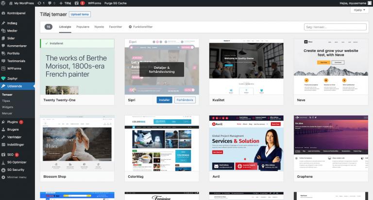 Sådan installerer du et tema på din WordPress side
